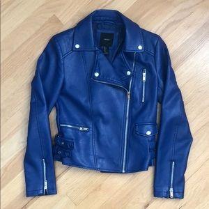 Faux Blue Leather Jacket